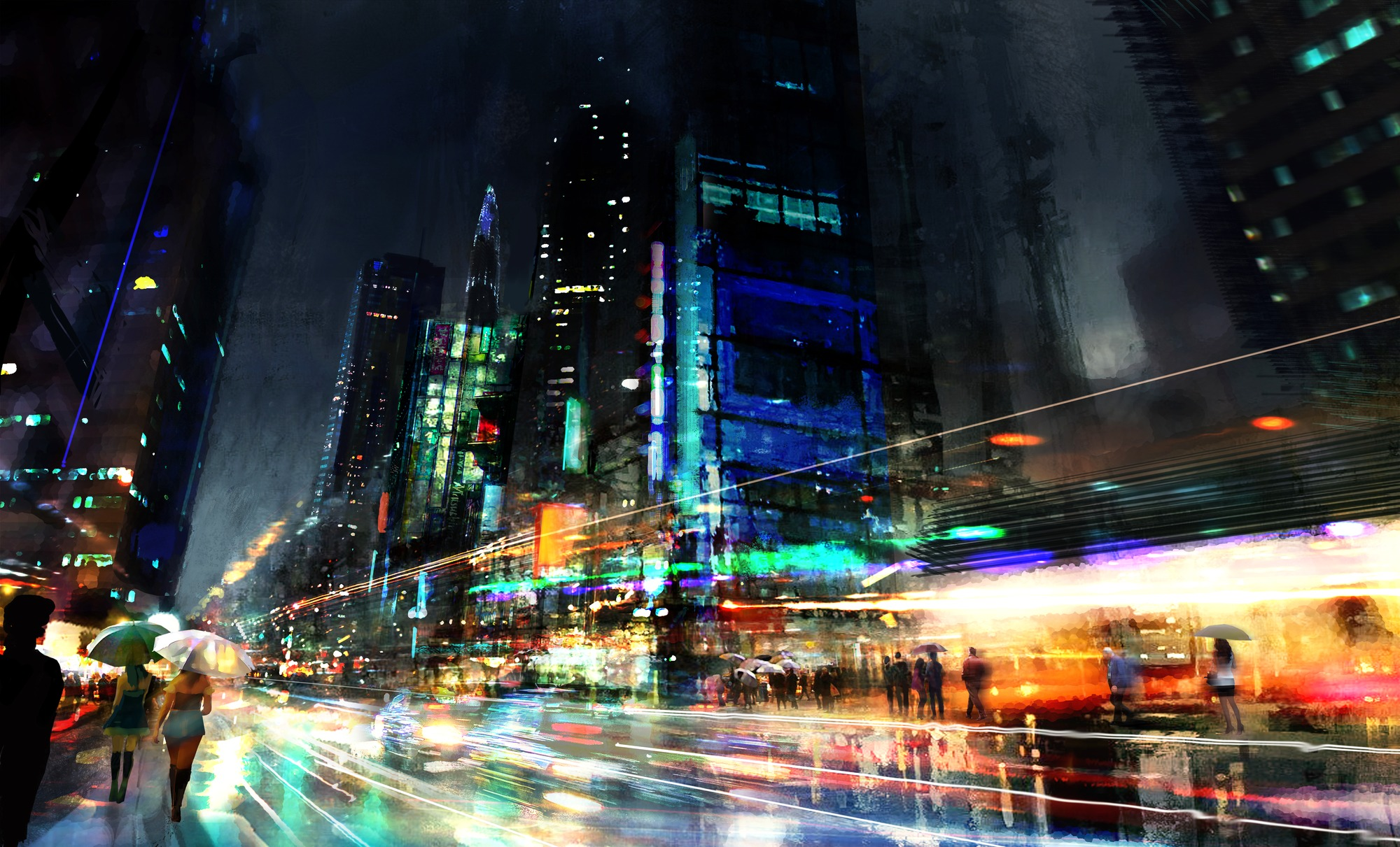 Night city wall mural by philip straub wallsauce europe for City wallpaper mural