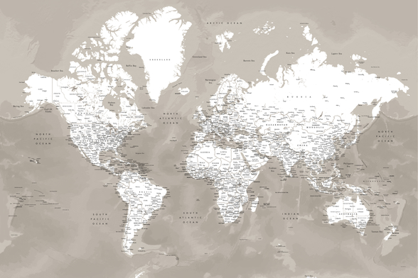 Coffee Brown World Map mural wallpaper