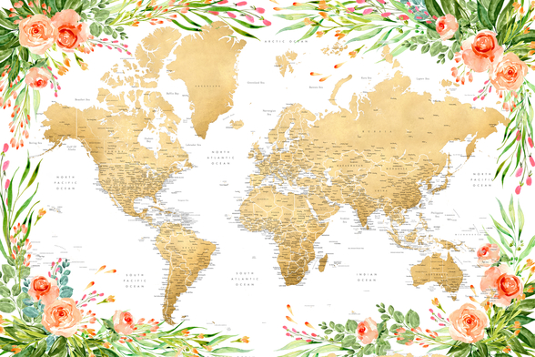 Floral Detailed World Map wall mural