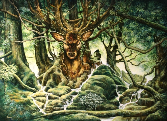 Deer Tree of Brocéliande wall mural