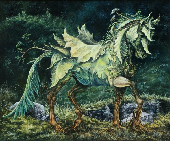 Horse of Leaves wall mural