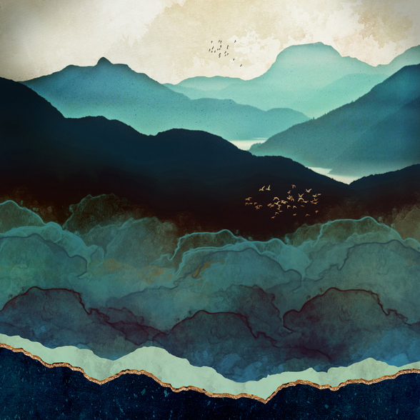 Indigo Mountains wall mural