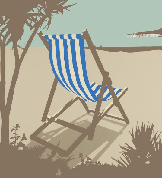Bournemouth Blue Deckchair wallpaper mural