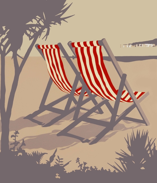 Bournemouth Red Deckchair wallpaper mural