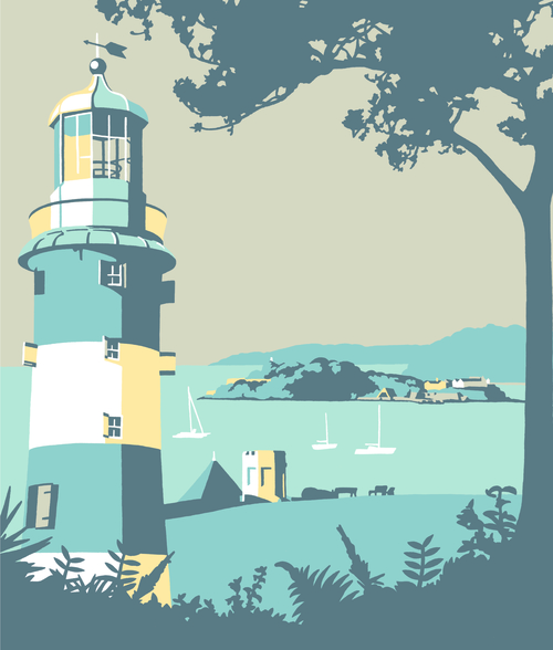 Plymouth Lighthouse mural wallpaper