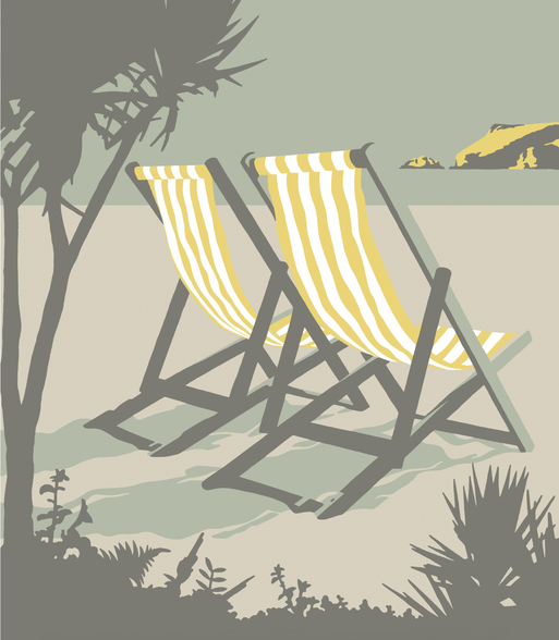 Polzeath Deckchairs mural wallpaper