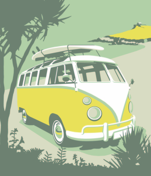 St Ives Camper wallpaper mural