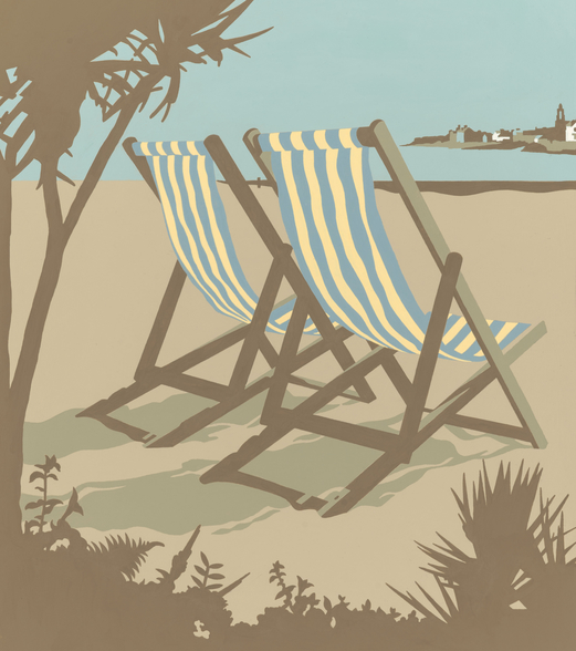 Swanage Deckchairs wall mural