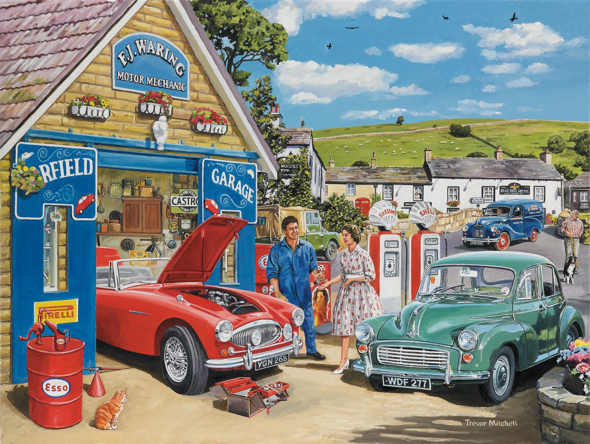 The Village Garage By Trevor Mitchell Wall Mural