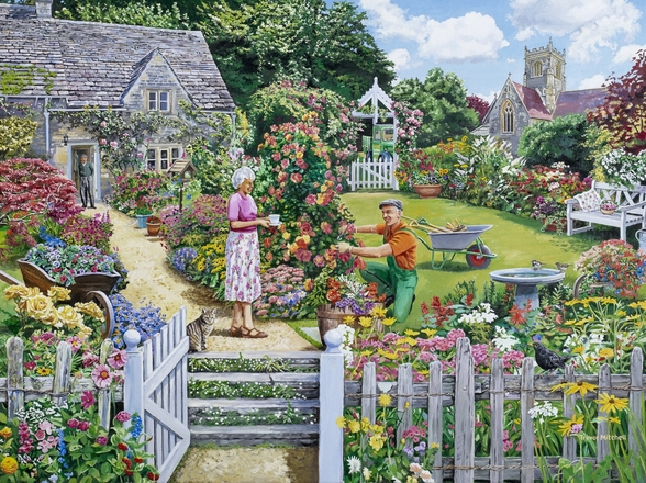 Tending a Cottage Garden wallpaper mural