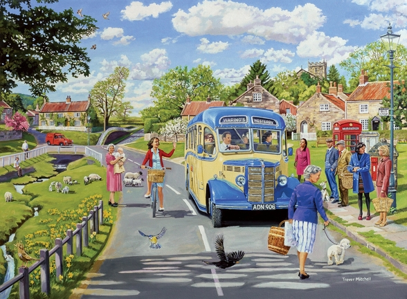 The Village Bus Stop mural wallpaper