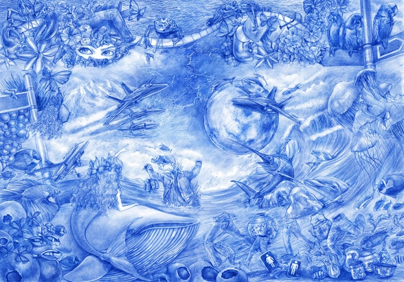 Blue Illustration wallpaper mural