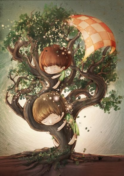 Born by a Tree mural wallpaper