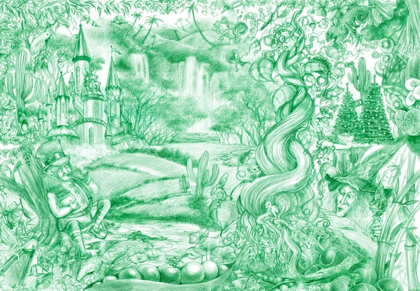 Green Illustration mural wallpaper