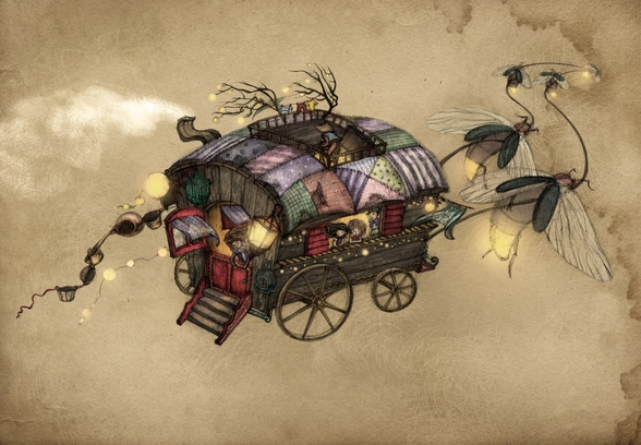 Gypsy Wagon wallpaper mural