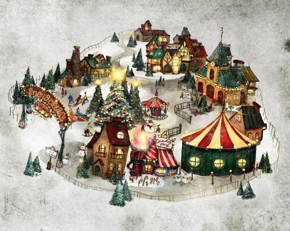 Snow Village wall mural