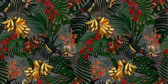 Palm Leaf Paradise mural wallpaper