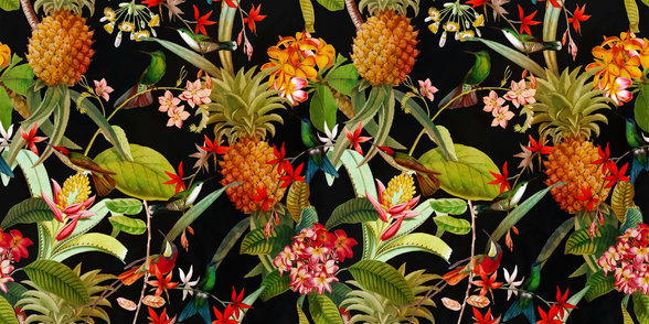Tropical Pineapples wall mural