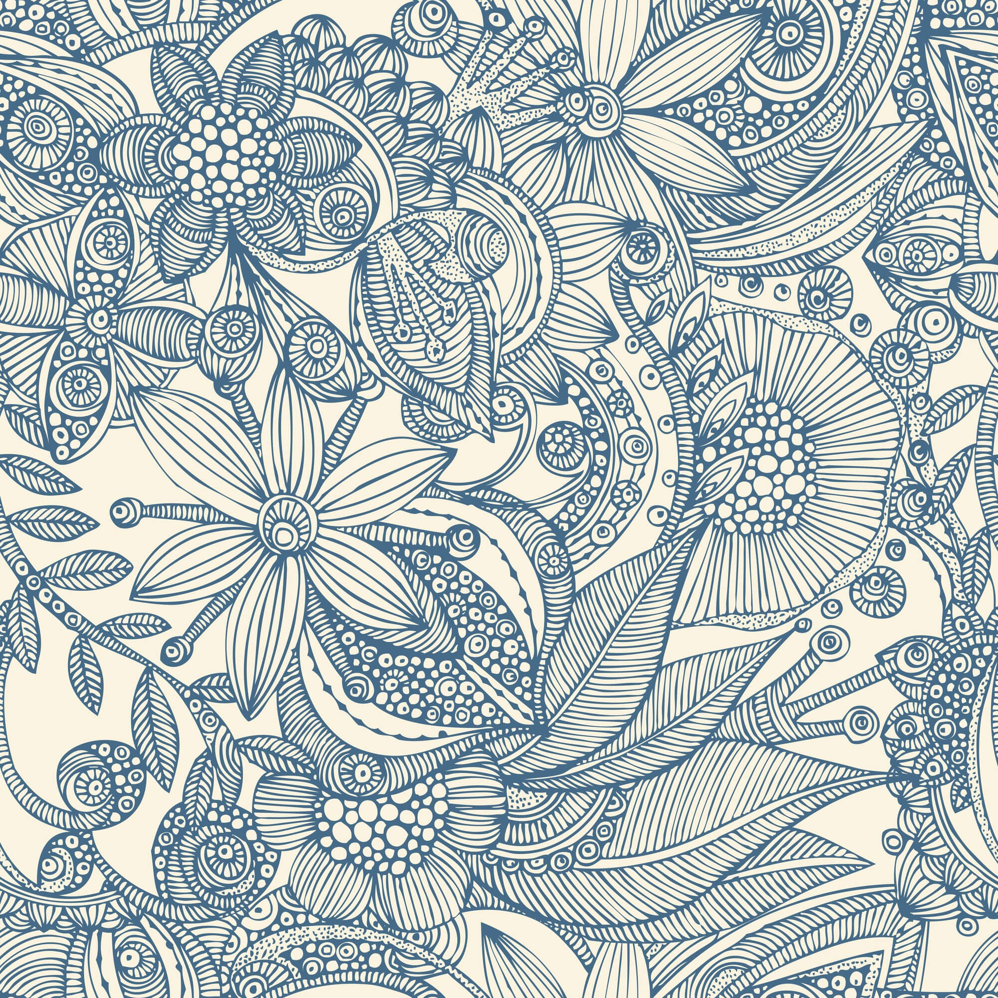 Flowers and doodles blue wall mural flowers and doodles for Mural flower