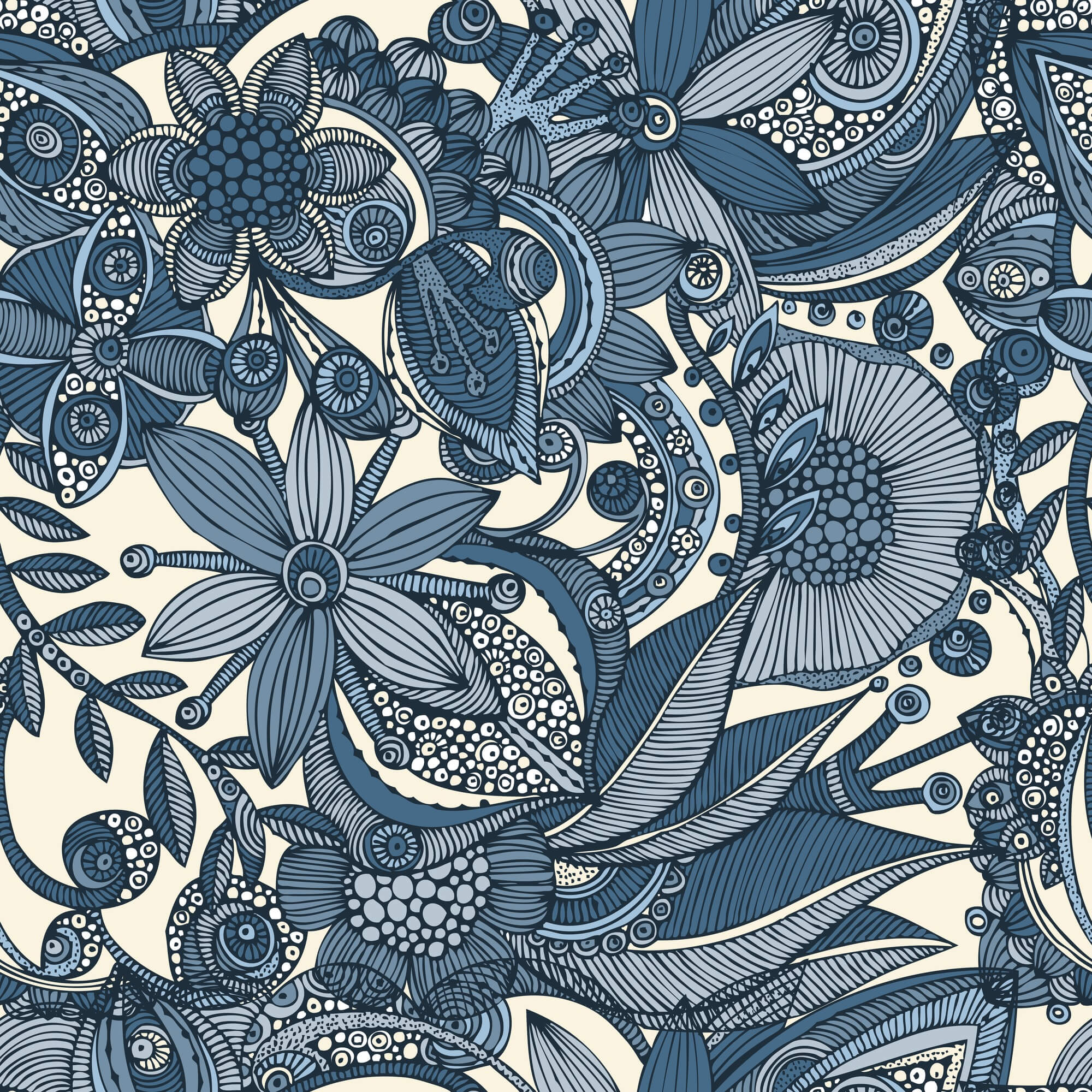 Flowers and doodles Wall Mural & Flowers and doodles Wallpaper