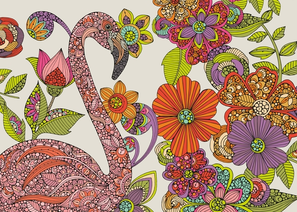 Flamingo Puzzle mural wallpaper