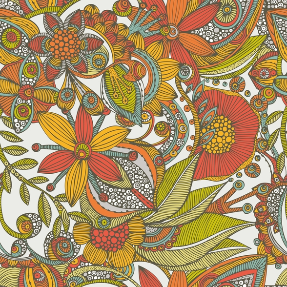 Flowers and Doodles Orange mural wallpaper