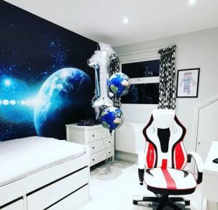 space mural in boys bedroom