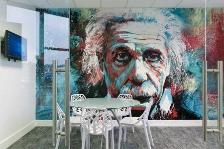 Einstein wallpaper in office