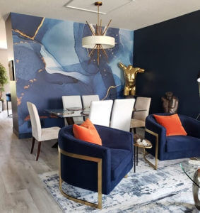 blue swirl wallpaper in lounge