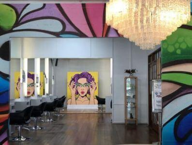 pop art wall mural in salon