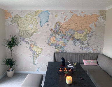 world map mural in living room