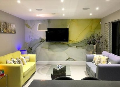 grey and yellow wallpaper in living room