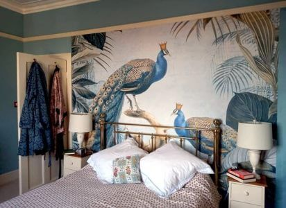 peacock wallpaper in bedroom