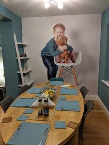 custom photo wallpaper in dining room