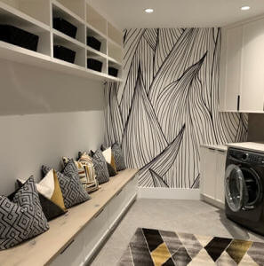 black and white wallpaper in laundry room