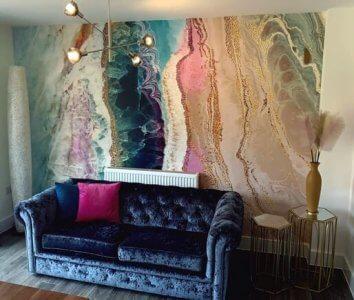 geode mural in living room