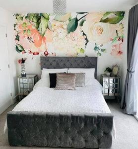 floral wallpaper in master bedroom