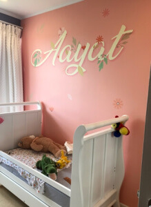 upload your own pink wall with daughters name on it