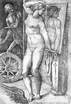 Nude looking at Herself in a Mirror, print made by Monogrammist M, c.1530-80 (engraving) wallpaper mural thumbnail