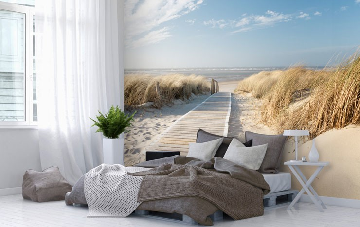 windy beach wallpaper in calming, minimal bedroom