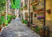 Tuscan Old Town Street wall mural thumbnail