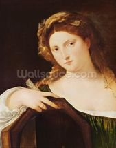 Detail of Allegory of Vanity, or Young Woman with a Mirror, c.1515 (oil on canvas) wallpaper mural thumbnail