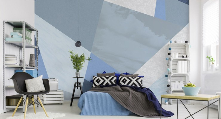 blue-geometric-wallpaper-in-bedroom