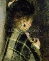 Young Woman with a Small Veil, c.1875 (oil on canvas) mural wallpaper thumbnail