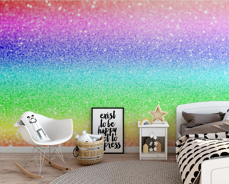 rainbow glitter image wallpaper in child's black and white bedroom