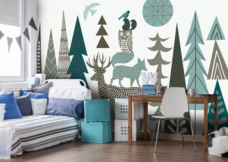 Scandi style tree mural in boys bedroom
