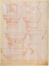 W.18v Study of column capitals (coloured pencil) mural wallpaper thumbnail