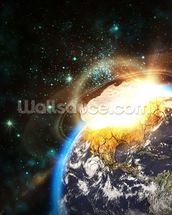 Asteroid Impact from Space wallpaper mural thumbnail