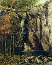 The Chasm at Conches, 1864 (oil on canvas) wallpaper mural thumbnail