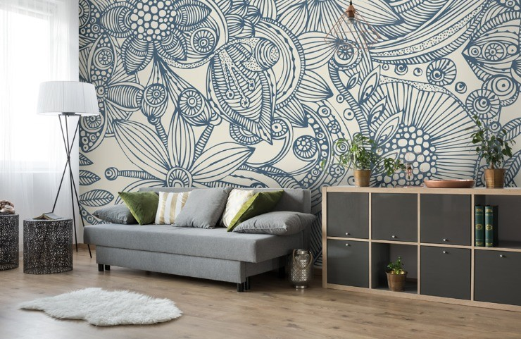 Relaxing blue wallpaper - Valentina Harper Flowers and Doodles